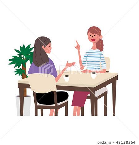 カフェで話す 女性 イラスト 43128364