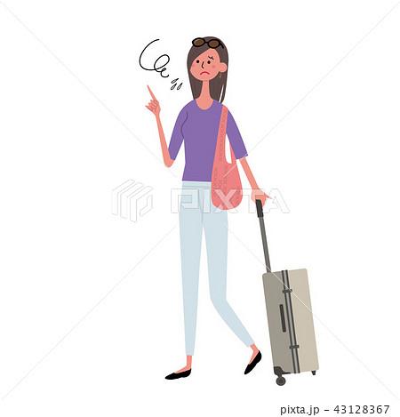 キャリーケースを持つ女性 イラスト 43128367