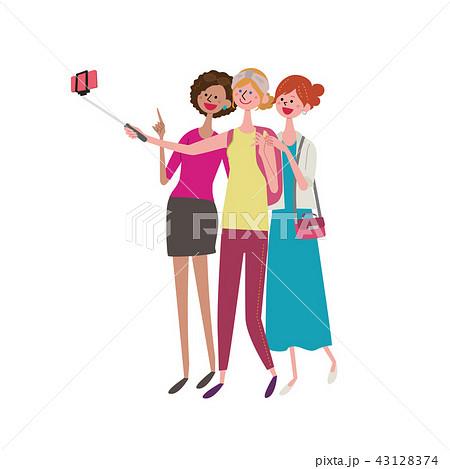 セルフィーを撮る外国人女性 イラスト 43128374