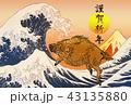 年賀状 猪 亥のイラスト 43135880