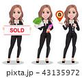 不動産業者 不動産屋 女性のイラスト 43135972