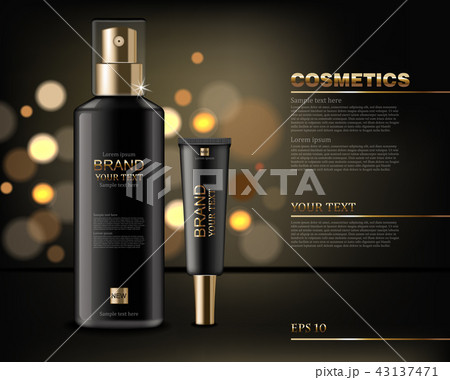 Black cosmetics bottles Vector realistic. Product 43137471