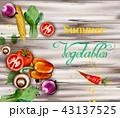 水彩画 野菜 ベジタブルのイラスト 43137525