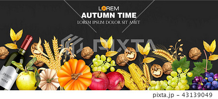 Autumn fruits and vegetables collection 43139049