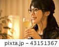女性 夜 ワインの写真 43151367
