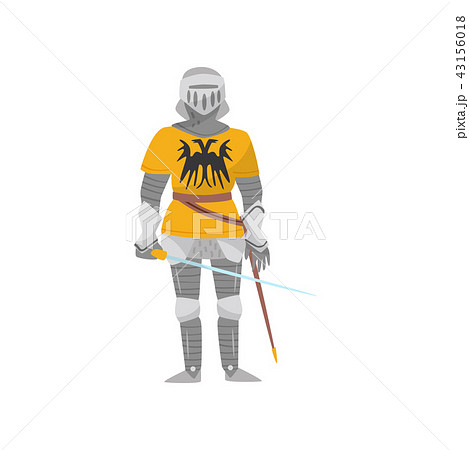 Medieval armored knight warrior character with weapon vector Illustration on a white background 43156018