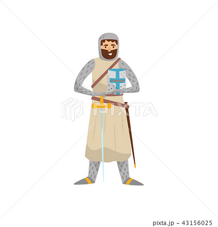 Medieval knight warrior character vector Illustration on a white background 43156025