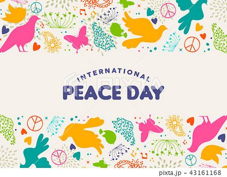 International Peace Day dove bird icon card 43161168