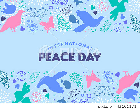 World Peace Day card of dove bird icon decoration 43161171