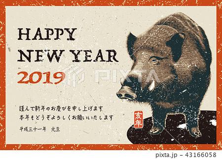 2019年賀状「リアル亥」ハッピーニューイヤー 日本語添え書き付き