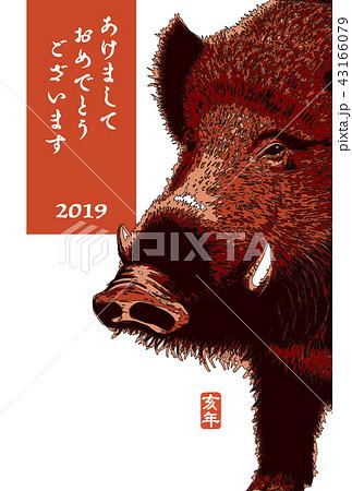 2019年賀状「シンプル亥」あけおめ 書き文字スペース空き 43166079