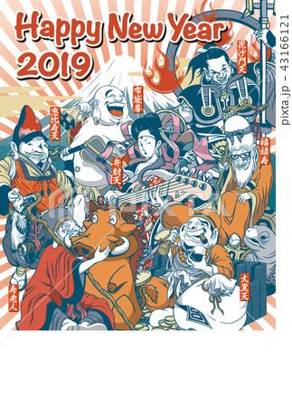2019年賀状「ちょっとおかしな七福神」ハッピーニューイヤー 書き文字スペース空き 43166121
