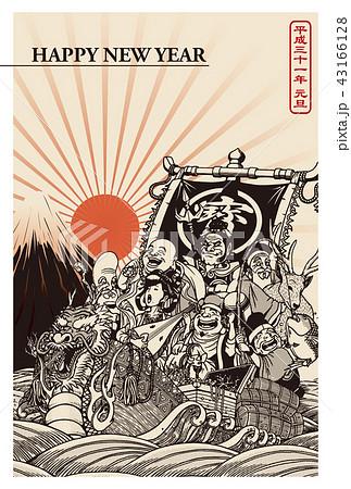 2019年賀状「七福神と宝船」ハッピーニューイヤー 書き文字スペース空き