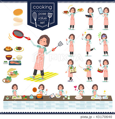 flat type tunic Middle women_cooking 43170640