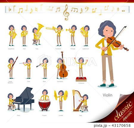 flat type Yellow jacket Middle women_classic music 43170658