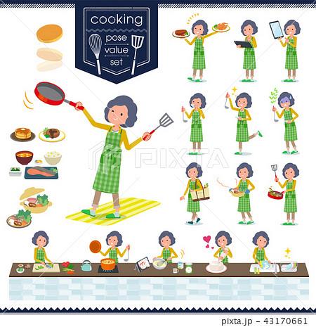flat type Yellow jacket Middle women_cooking 43170661