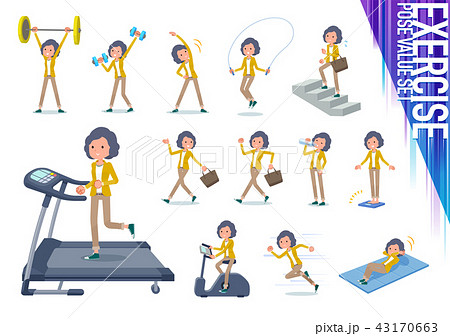 flat type Yellow jacket Middle women_exercise 43170663