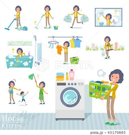 flat type Yellow jacket Middle women_housekeeping 43170665