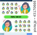女性 アイコン 表情のイラスト 43170666