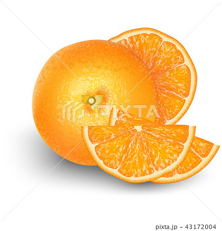 Orange fruit for fresh juice. 3d realistic   43172004
