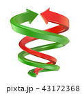 Red and green spiral arrows. 3D 43172368