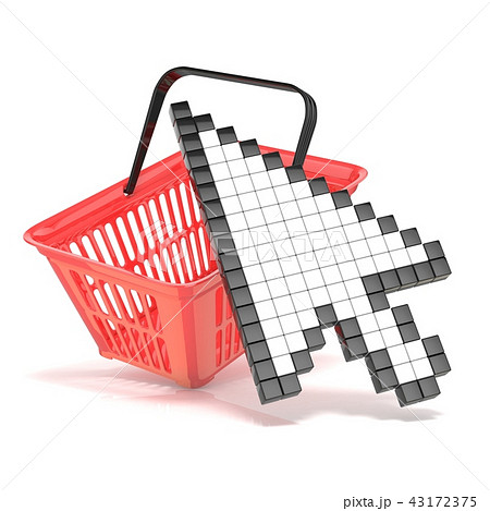 shopping basket and pointing arrow cursorのイラスト素材 43172375