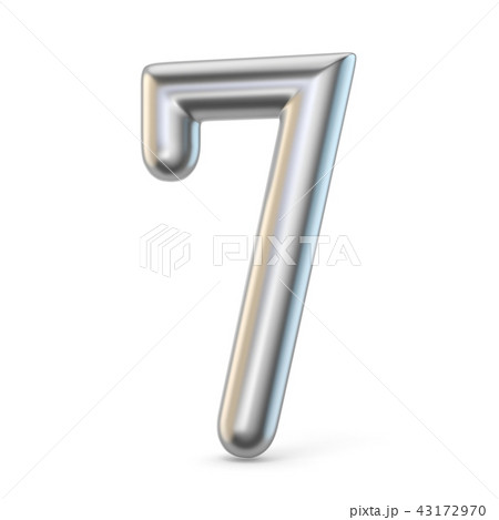 Metal silver font. Number SEVEN 7 3D 43172970