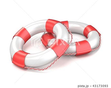 Two white life buoys 3D 43173093