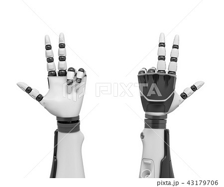 3d rendering of two robotic arms with all fingers sticking out except the ring and the pinky fingers 43179706