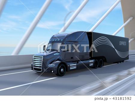 道路橋に走行している黒色燃料電池トラックのイメージ 43181592