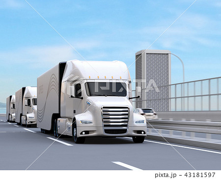 高速道路に隊列走行している白色燃料電池トラックのイメージ 43181597