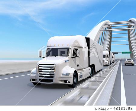高速道路に隊列走行している白色燃料電池トラックのイメージ 43181598