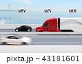 高速道路に走行している燃料電池トラック、上空に配達ドローンの側面イメージ。物流コンセプト 43181601