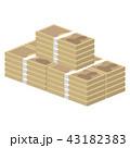 斜め向き、山積みの日本円紙幣の札束 43182383
