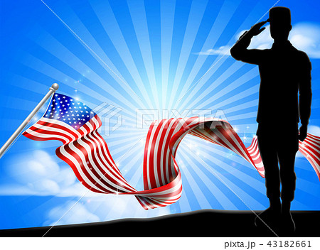 american flag soldier saluting background のイラスト素材 43182661