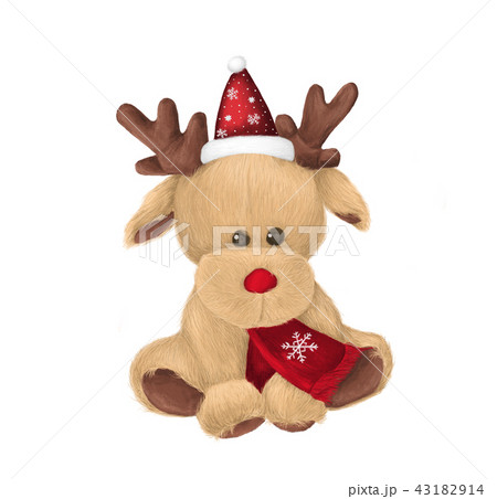 cute winter deer with red scarf and santa hatのイラスト素材