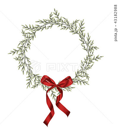 Green leaves wreath and red bow in vintage style 43182988