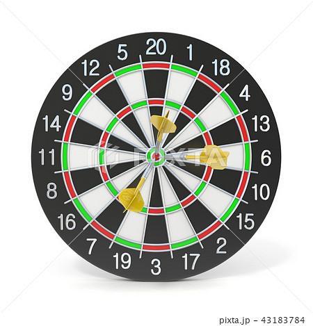 Dartboard with three orange darts on bullseye 43183784