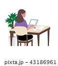女性 ノートパソコン ベクターのイラスト 43186961