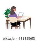 女性 ノートパソコン ベクターのイラスト 43186963