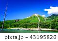 夏の上高地、大正池と焼岳、立ち枯れの木の定番ショット 43195826