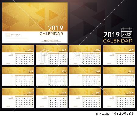 calendar golden planner 2019 year planのイラスト素材 43200531 pixta