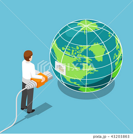 Businessman connecting network cable to the world 43203863