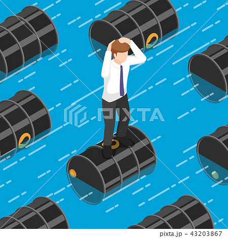 Businessman standing on oil barrel in the water 43203867