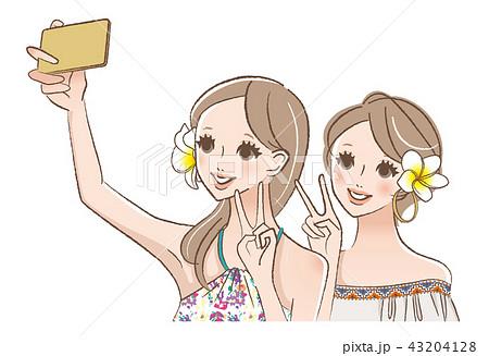 友達と自撮りする女性のイラスト 43204128
