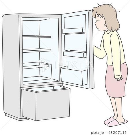 空っぽの冷蔵庫に驚く女性 43207115
