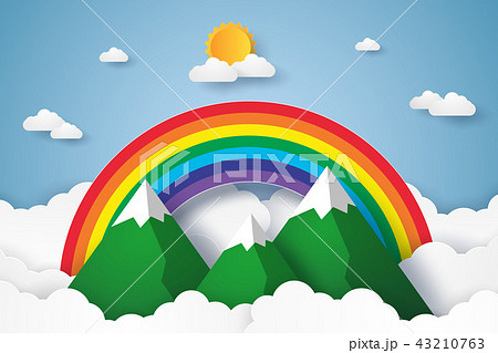 Rainbow and mountains on blue sky with cloud 43210763