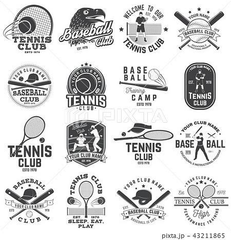 Set of baseball and tennis club badge. Vector illustration. Concept for shirt or logo, print, stamp 43211865