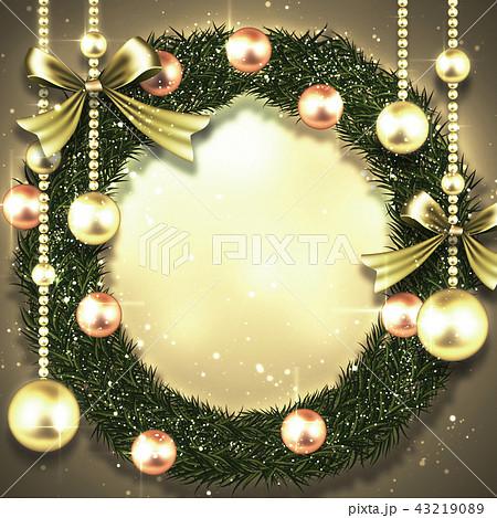 クリスマスリース背景 43219089