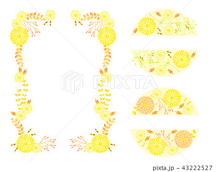 黄色い秋の花のフレーム 43222527